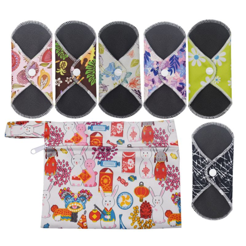 6Pcs Reusable Washable Bamboo Charcoal Menstrual Cloth Sanitary Pad With Wet Bag 50JF