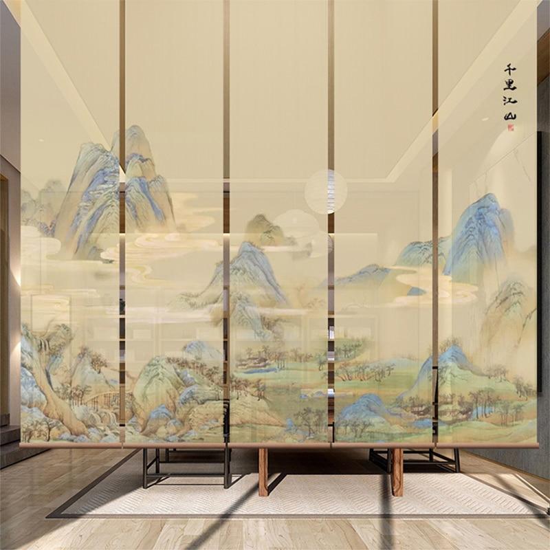 Nouveau paysage chinois suspendus écran rideau de levage cloison souple écran rideau salon de thé rideau personnalisé