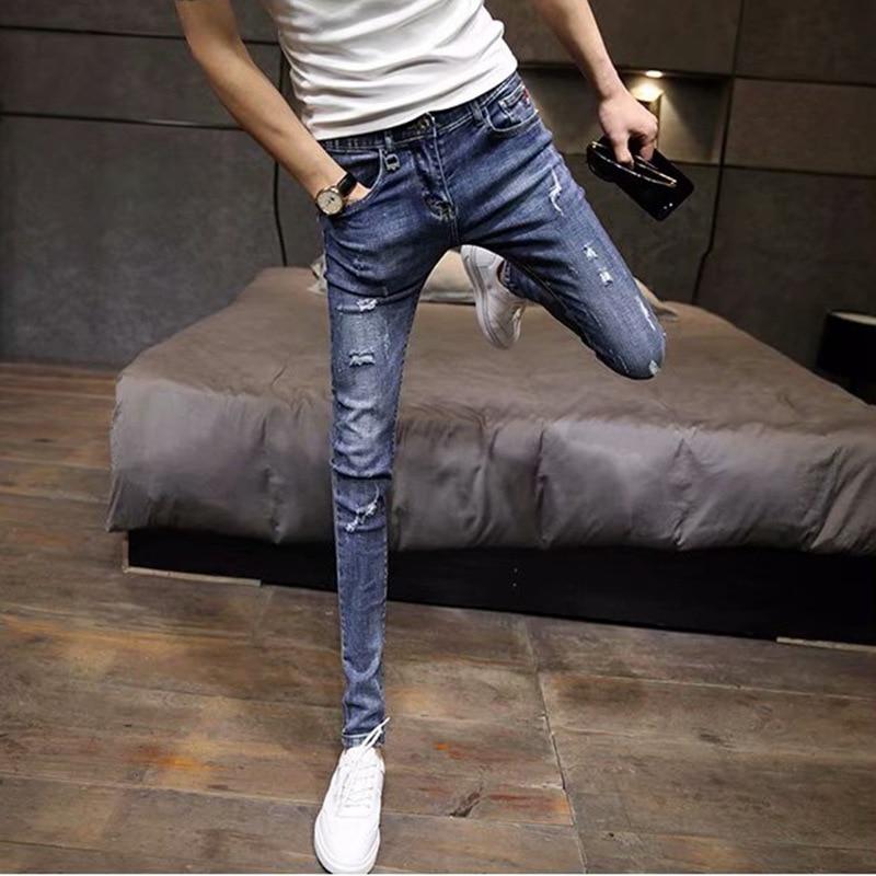Popular Brand Jeans Men's Retro Elasticity Slim Fit Pants Tight Capri Pants Sub-Summer Thin Section Social Lively Fella