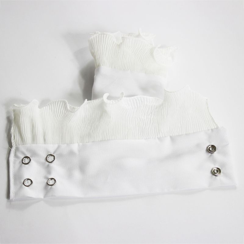 1Pair Wrinkled Flare Fake Sleeve Soft Chiffon False Wrist Cuffs With Buttons 449F