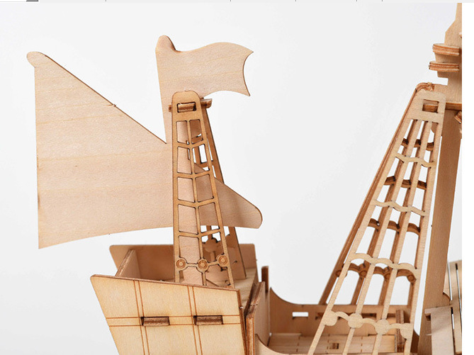 Image 3 - Fancy DIY Sailing Ship Toys 3D Wooden Puzzle Toy Assembly Model Wood Craft Kits Desk Decoration Toys for Children Kids Gift-in Wooden Blocks from Toys & Hobbies