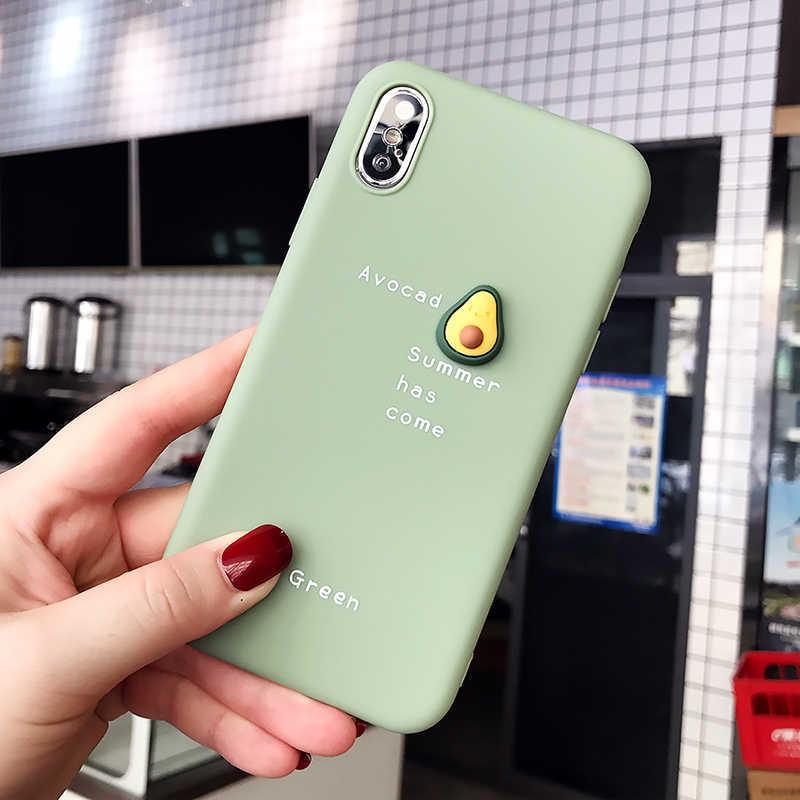 Belle étui pour iphone de téléphone modèle 3D mignon XS Max XR X 8 7 6 6S Plus belle couverture arrière anti-konck en Silicone souple avocat