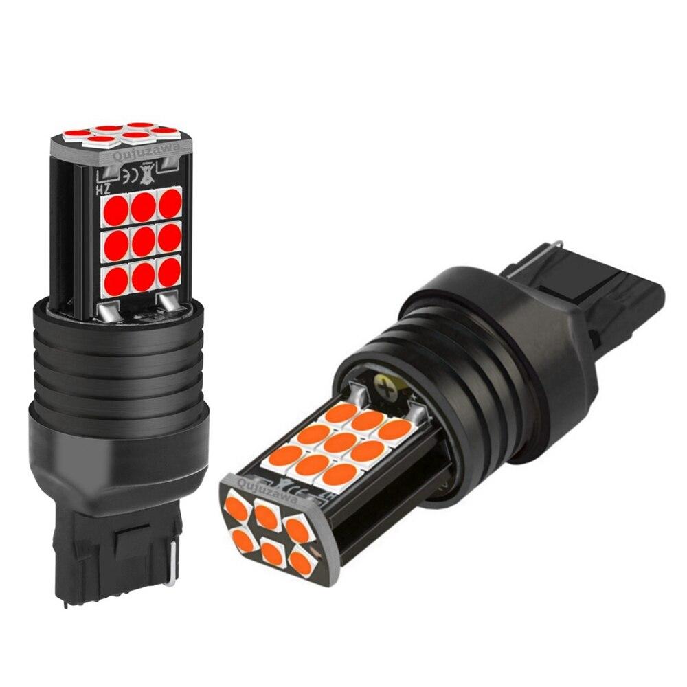 2 шт. Новый T20 7440 W21W WY21W супер яркий 3030 светодиодный автомобильные лампы стоп сигнала поворотники Авто резервный задний фонарь дневные ходовы...