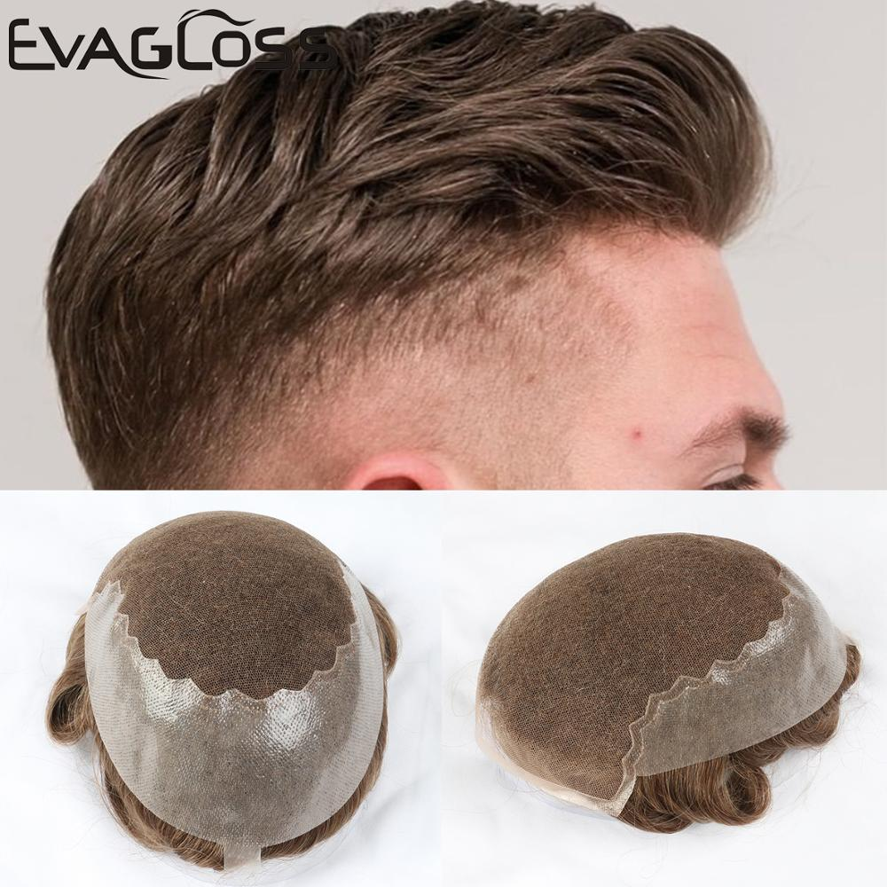EVAGLOSS Q6 Base Men's Toupee Natural Hairline Real Indian Human Hair Men Wig Swiss Lace Thin PU Toupee/Hair System