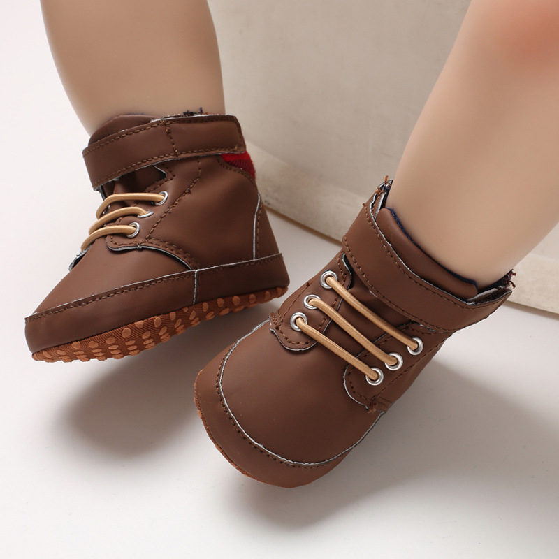 Kids Booties Baby Boys Shoes Toddler Sneakers Newborn First Walkers Infant PU Crib Toddler Shoes Soft Sole Non-Slip Prewalkers