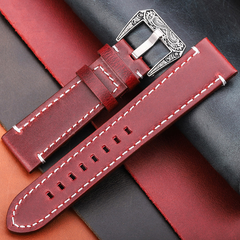 Vintage Genuine Leather Watchbands 20mm 22mm 24mm Women Men Oil Wax Cowhide Watch Band Strap Watch Accessories