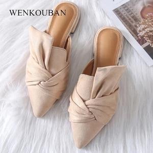 Image 2 - Women Sandals Summer Female Flat Shoes Flock Bowtie Slippers Ladies Fashion Low Heels Mules Elegant Blue Sandales Femme 2020