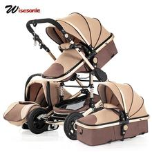 3 in 1 Baby Stroller Multi-Function 4 Round Shockproof Foldable Neonatal Trolley High Landscape Newborn