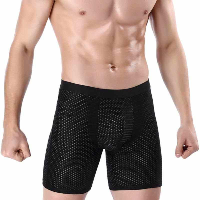 Heißer Männer Eis Seide Körper Former Shorts Pouch Soft Mesh Bulge Boxer Unterwäsche Atmungsaktive Sport Kurze