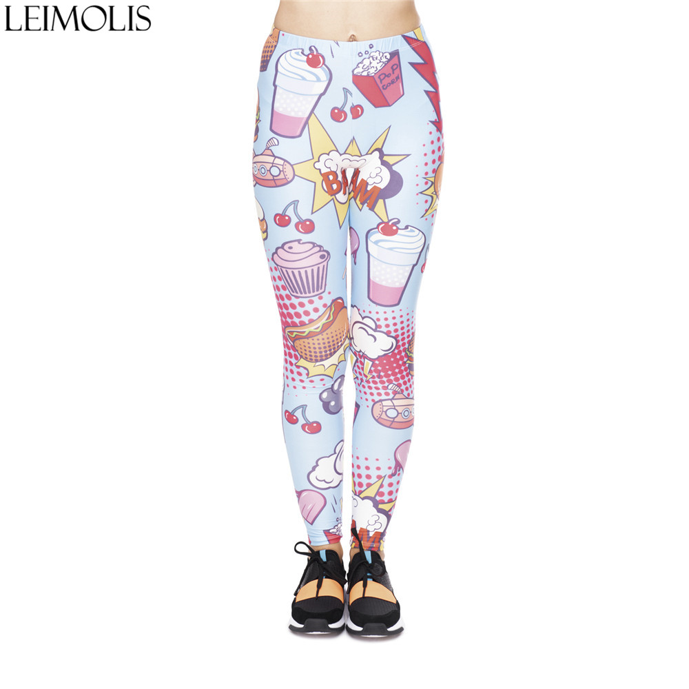 LEIMOLIS 3D Print Cartoon Dessert Fruits Fitness Push Up Workout Leggings Women Harajuku High Waist Punk Rock Sexy Leggins