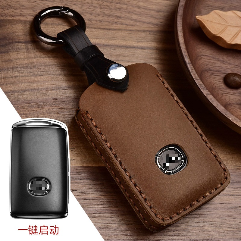 Crazy Horse Leather Auto Car Styling Key Case For Mazda 3 Alexa CX4 CX5 CX8 2019 2020 Car Holder Shell Remote Cover keychai