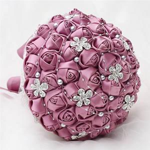 Image 2 - Wifelai uma rosa de veludo roxo, de seda, noiva, buquê de casamento, romântico, dama de honra, broche de cristal, buquê w569