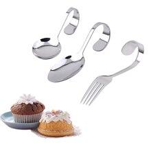 1 шт. Десертная Вилка для салата и ложка из нержавеющей стали изогнутая ручка столовая посуда салат пончики кекс буфет торт инструмент