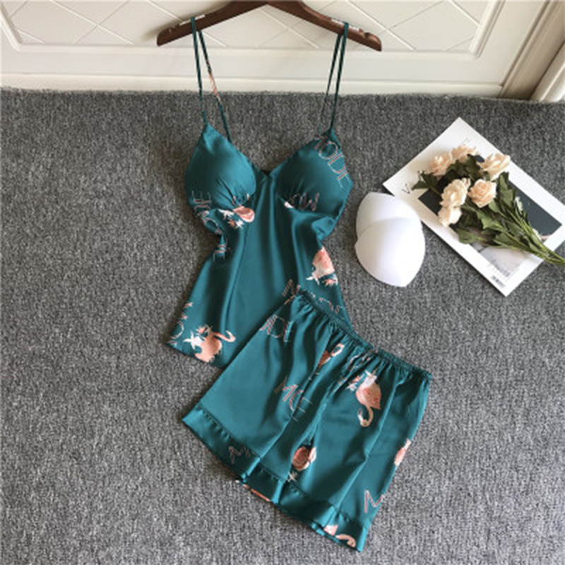 JULY'S SONG Sexy Sling Pajamas Womens Printed Flamingo Casual  Nightwear Homewear V Neck Tops Womens Shorts Sleepwear Tops