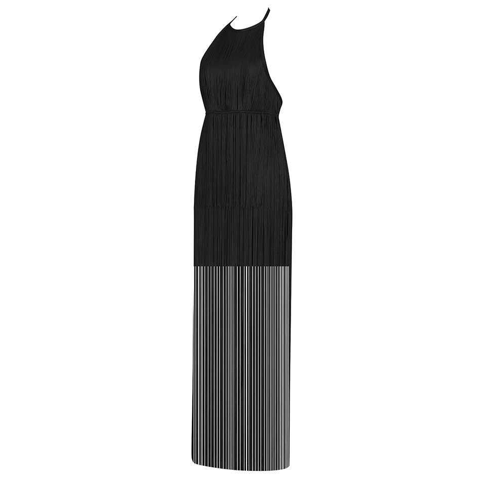 Seamyla Новое Элегантное женское Макси платье летняя мода бахрома бандаж знаменитости для вечеринок платья Vestidos без рукавов Подиум длинное платье