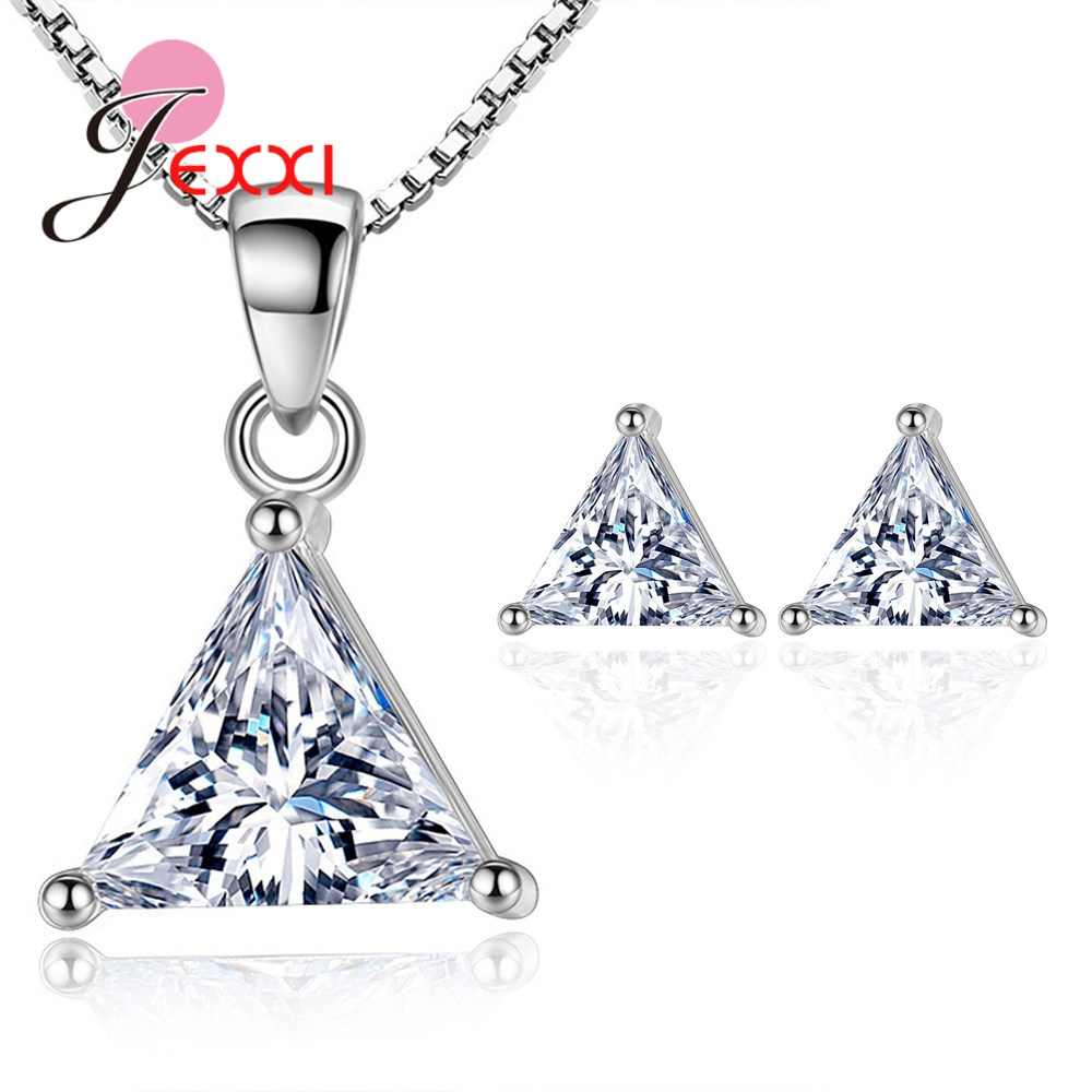 New Arrival Genuine 925 Sterling Silver Fashion Jewelry Set Shiny Crystal/Pearl Earrings + Pendant Necklace Seven Styles Option