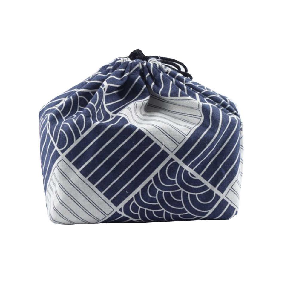 Phong Cách Nhật Bản Du Lịch Túi Đựng Đồ Ăn Trưa In Hình Dây Kéo Bảo Quản Thực Phẩm Cầm Tay Công Sở Vải Bento Túi Mát Nhiệt Cách Điện
