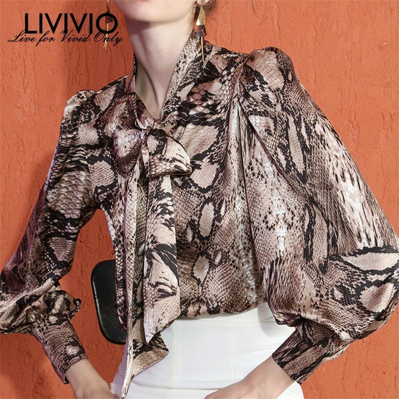 [LIVIVIO] Snake Print Bow Collar Lantern Long Sleeve Blouse Women Shirt 2019 Autum Female Fashion Clothing