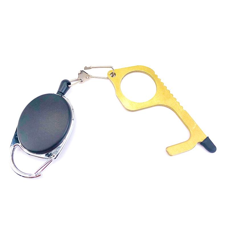 Portable No Touch Door Opener Contactless Safety Door Assistant Elevator Protection Brass Keychain And Door Opener Handle Tool