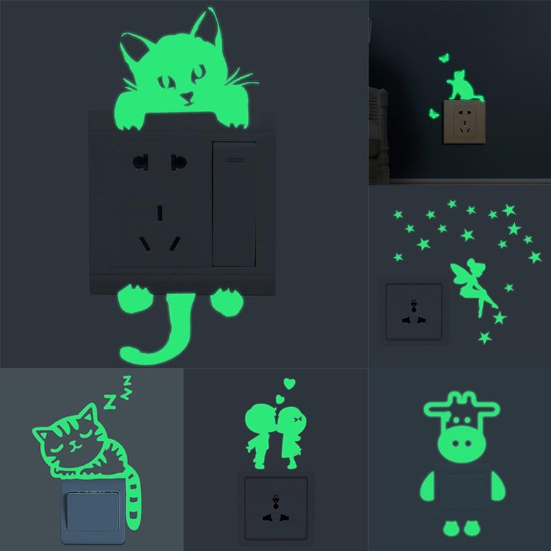 1pc Luminous Cartoon Switch Sticker Glow in the Dark Cat Sticker Fluorescent Fairy Moon Stars Sticker Kid Room Decoration