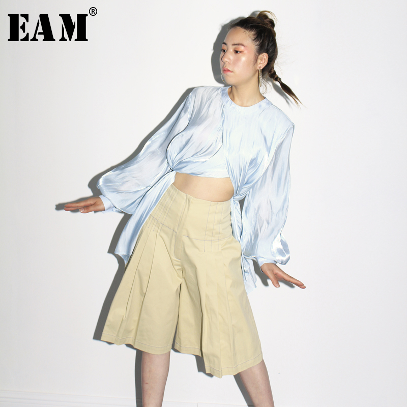 [EAM] Stitch Pleated Big Size Women Wide Leg Shorts New High Waist Loose Fit Trousers Fashion Tide Spring Summer 2020 JZ183
