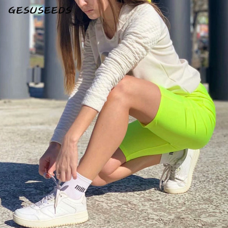 Neon Green Yellow Biker Shorts Orange Black High Waisted Shorts Casual Elastic Shorts Vintage Khaki Pink Reflective Short Mujer