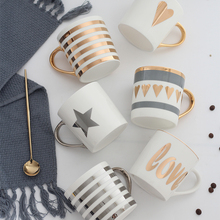 Creative Ceramic Milk Mug Love Star Stripe Pattern Gold Plating Handle Cup Office Household Coffee Milk Tea Mugs Home Decoration