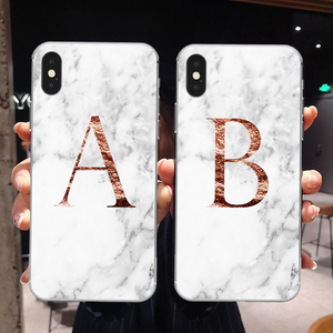 Letter Monogram A B C D white marble Soft TPU Phone Case For iphone 5S 5 SE 6 6s Plus 7 7Plus 8 8Plus XS Max XR(China)