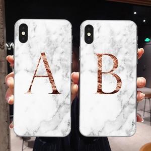 Image 1 - Letter Monogram A B C D white marble Soft silicone TPU Phone Case For iphone 5S 5 SE 6 6s Plus 7 7Plus 8 8Plus XS Max XR SE 2020