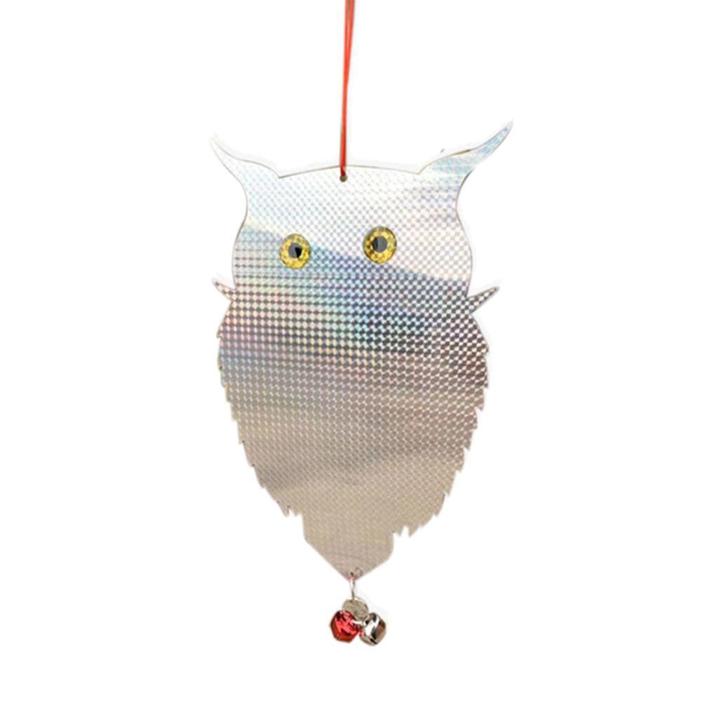 Garden Decoration Garden Laser Reflective Fake Owl Supplies Hanging Scarecrow Scares Bird Pigeons Woodpecker With Bell