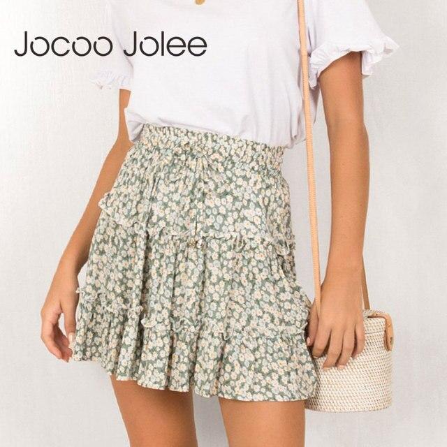 Jocoo Jolee Sexy High Waist Ruffles Skirt for Women Floral Print Beach A Line Skirt Cotton Beach Short Pleated Skirt Plus Size 1
