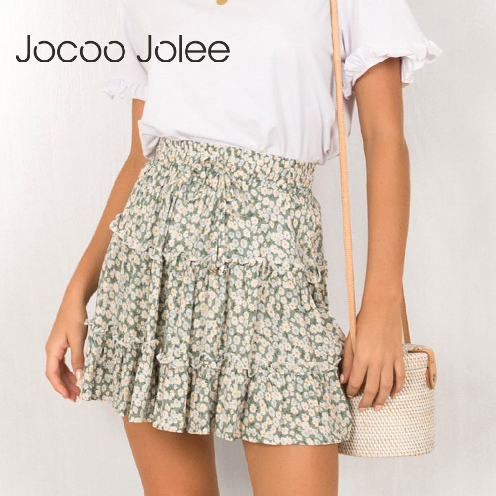 Jocoo Jolee Sexy High Waist Ruffles Skirt For Women Floral Print Beach A Line Skirt Cotton Beach Short Pleated Skirt Plus Size