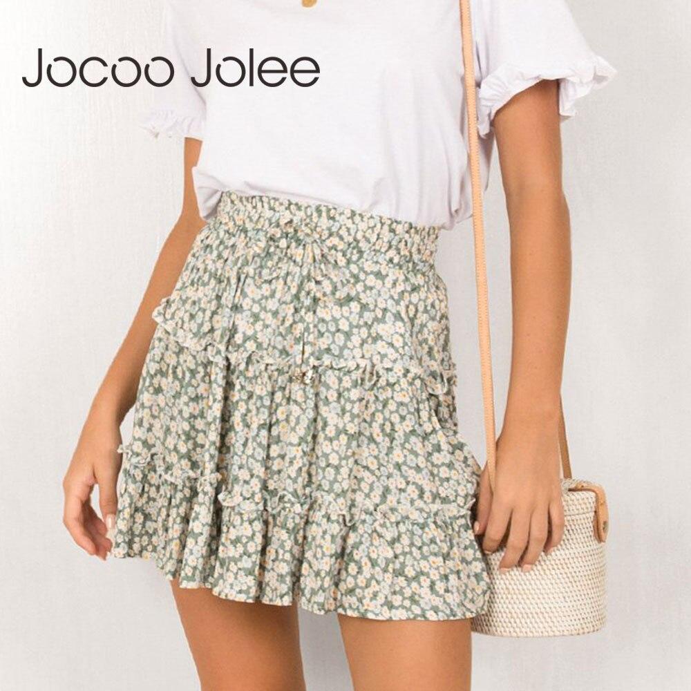 Jocoo Jolee Sexy High Waist Ruffles Skirt For Women Floral Print Beach A Line Skirt Cotton Beach Short Pleated Skirt Plus Size