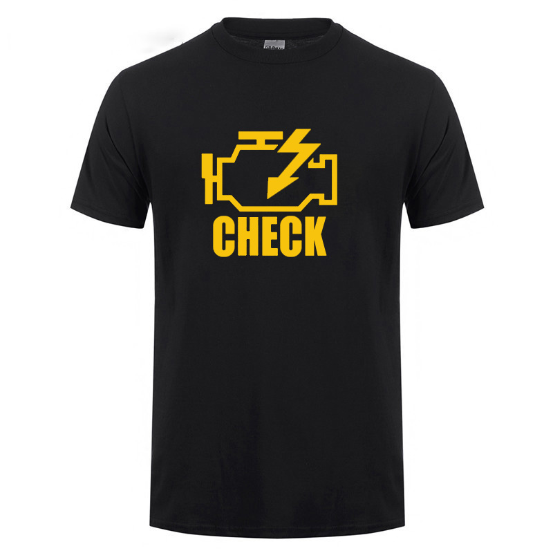 Mechanic Auto Repair Check Engine Light T-Shirt Funny Birthday Gift For Men Daddy Father Husband Short Sleeve Cotton T Shirt Tee