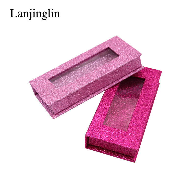 Wholesale Lash Book Boxes Blank 1 Pair Carton Hard 25mm Mink Eyelashes Package Glittering Pink Eyelashes Box DIY Flash Packing