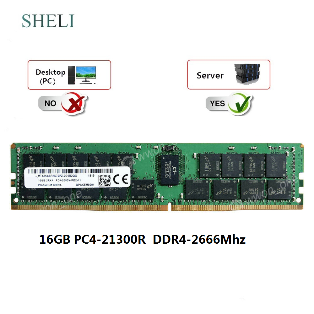 SHELI 16GB 2Rx4 PC4-2666MHZ DDR4-21300R RDIMM 288PIN 1.2V ECC REG Server Memory