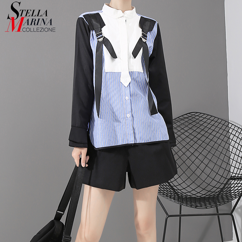 New 2019 Korean Style Women Blue Striped Shirt Blouse Patchwork Tapes Decorated Ladies Stylish Casual Blouse Chemise Femme 5433