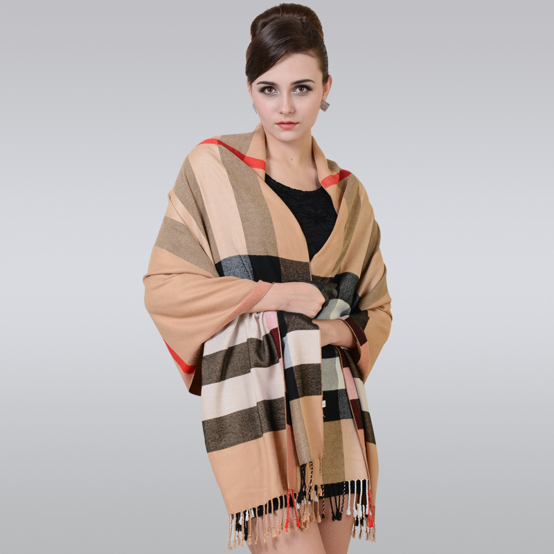 2019 Modal Cotton Widened Lengthened Women's Warm Shawl Autumn And Winter Cotton Woven Nap Extra-large Scarf Classic Fashion Pla