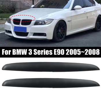 NEW A Pair Headlight Lid Eyebrow EyeLids Matte Black Front Grill Upper Trim Cover For BMW 3 Series E90 2005~2008 image