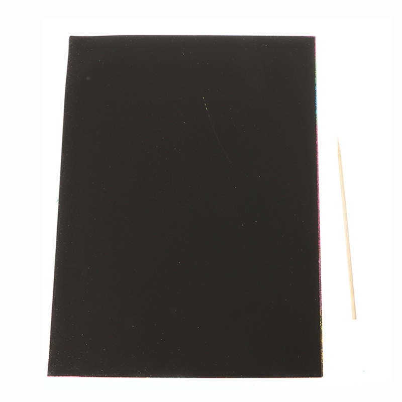 10 Sheets A4 Magic Scratch Art Painting Paper With Drawing Stick Kids Toy Gift