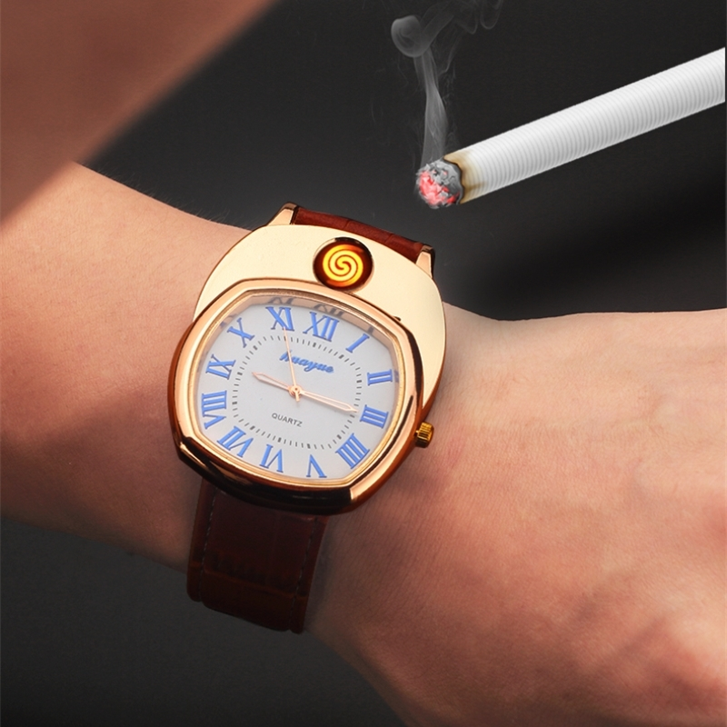 Men Watch Lighter Watch Windproof Quartz  USB Charging Cigarette Lighter Hot Sports Casual Wristwatches Clock Military A0688