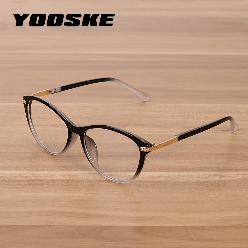 YOOSKE Classic Cat Eye Transparent Glasses Frame Women Clear Lens Eyeglasses Men Computer Myopia Spectacle Frames Round Eyewear