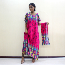 Elegant Casual Cotton Traditional Dashiki Print Short Sleeve Long Dress With Scarf African Dresses For Women Plus Size