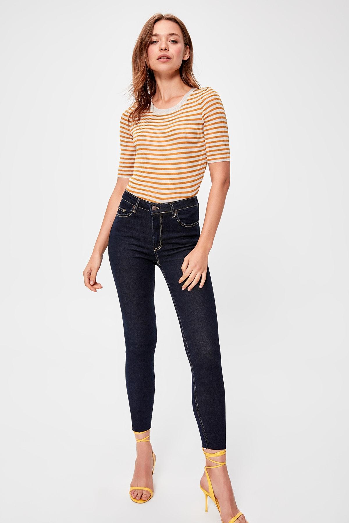 Trendyol Navy Pettitoes Discrete High Waist Skinny Jeans TWOAW20JE0176