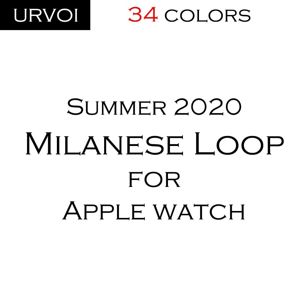 Сетчатый ремешок URVOI для apple watch series 6 SE 5 4 3 2 1, Миланская петля для iwatch, нержавеющая сталь, цвета: черный, серебристый, синий