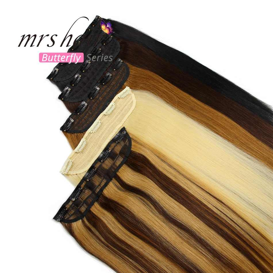 "MRS HAIR 1pc Brazilian Hair Clips Tic Tac 14"" 18"" 22"" Machine Made Remy Hair piece Straight Clip In Human Hair Extensions"