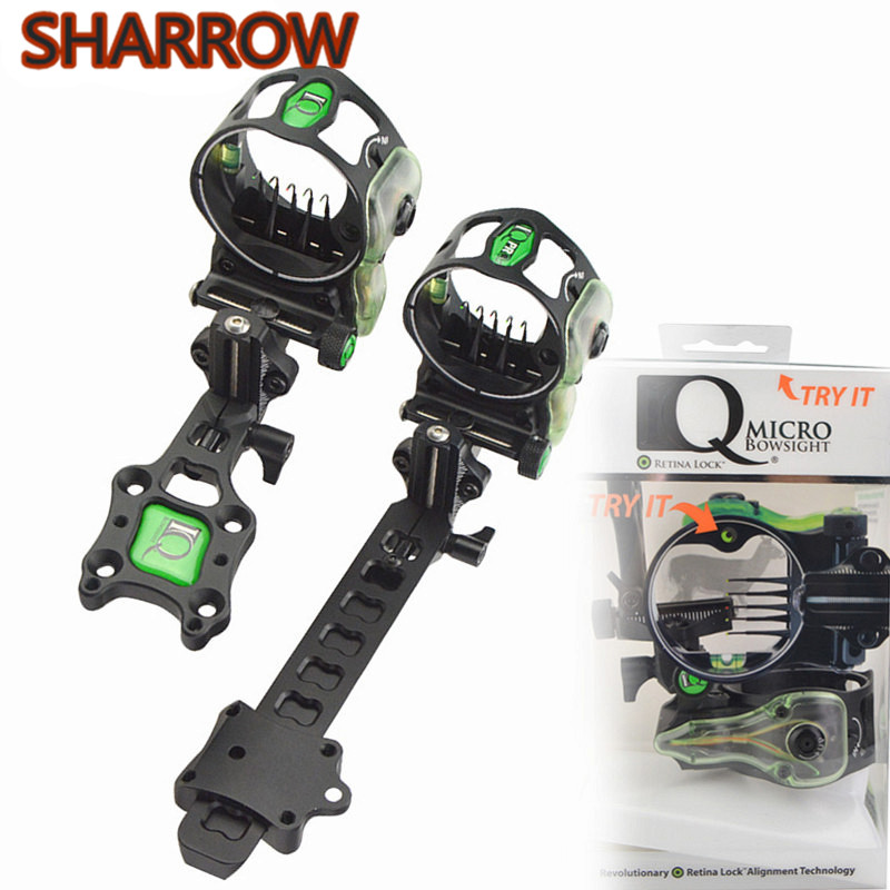 Compound Bow Sight Scope Retina Lock 5Pin Long/Short Pole Bow Sight Right Hand For Outdoor Shooting Training Archery Accessories