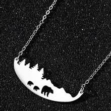 Ожерелье из нержавеющей стали, медвежонок, медвежонок, золото, ожерелья для женщин, горное дерево, ювелирные изделия, различные ожерелья