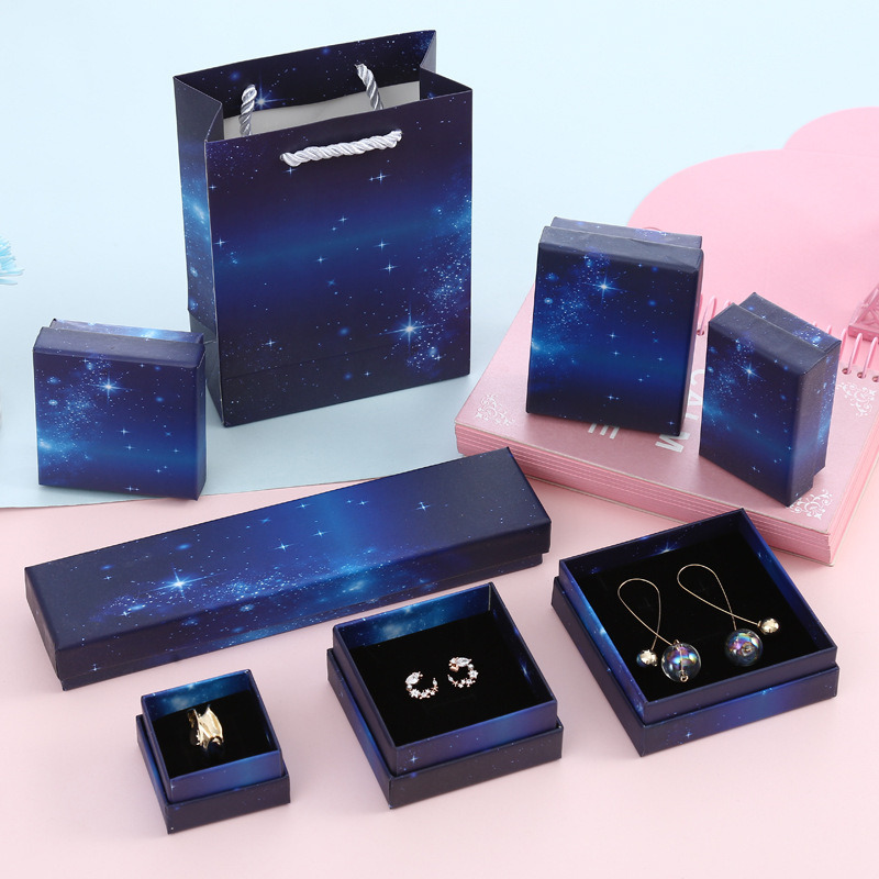 10pcs Starry Sky New Jewelry Box Dark Blue Jewelry Box Gift Bag Wholesale Spot Porous Ring Packaging Gift Boxes Party Supplies
