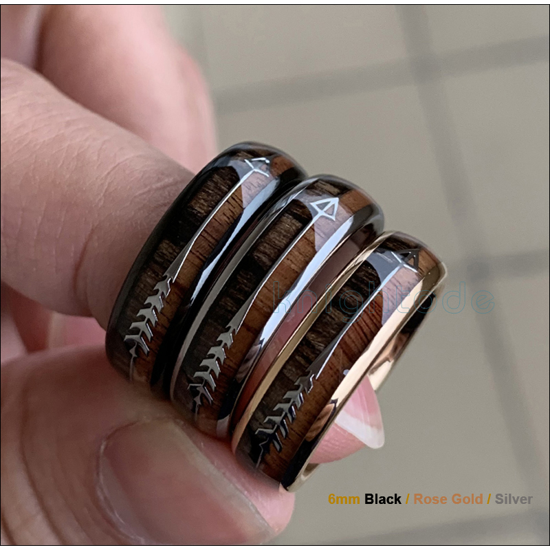 Image 2 - 8/6mm Fashion Rose Gold Tungsten Carbide Wood Rings Women Men Classic Silver Engagement Band And Steel Arrow Inlay Black Style-in Wedding Bands from Jewelry & Accessories